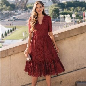 Gal Meets Glam Stella Raspberry Red Lace Dress